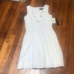White eyelet dress Miss 60 with beading